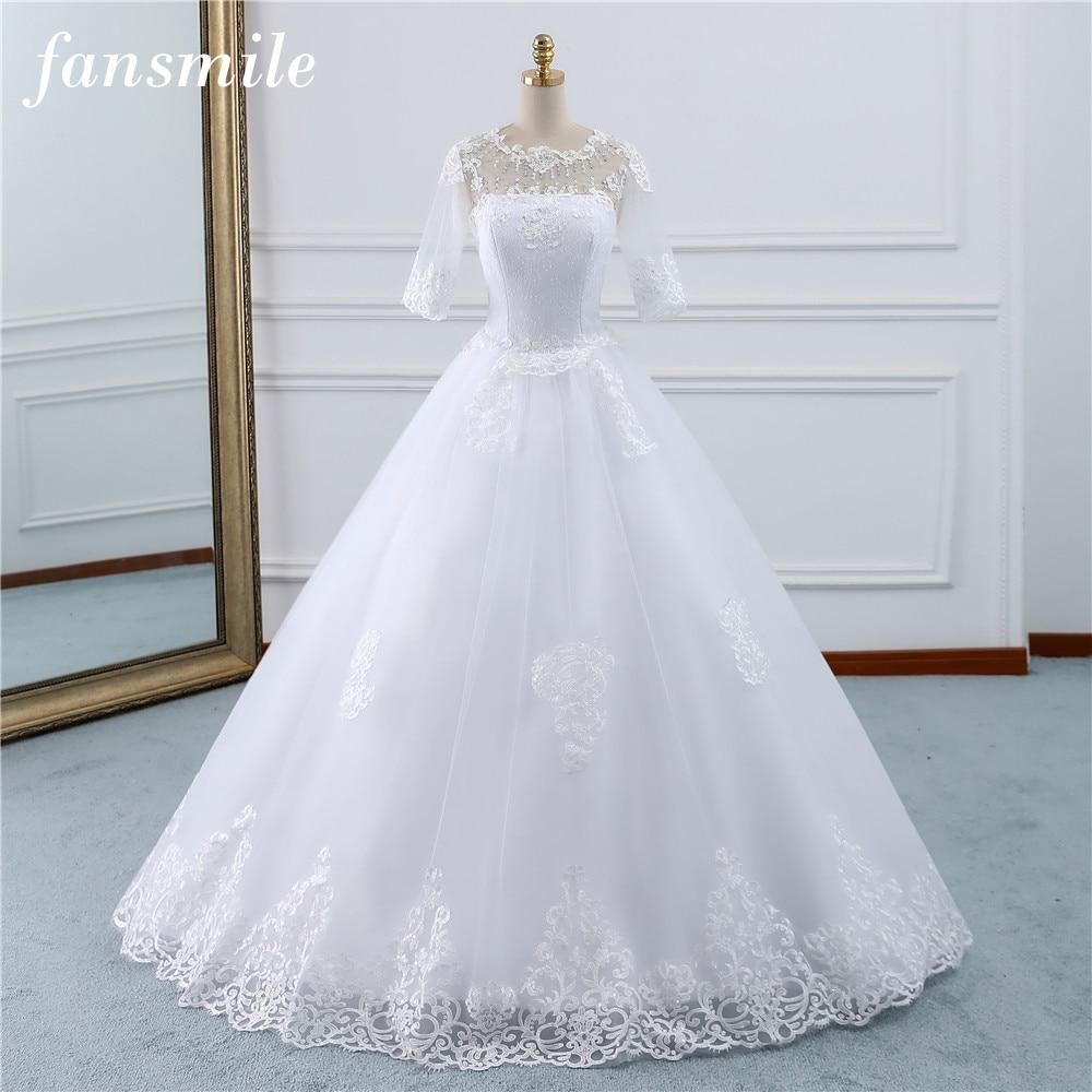 Fansmile Vestido De Noiva Vintage Lace Gowns Wedding Dress Plus Size 2020 Customized Bridal Wedding Dress Turkey FSM-434F