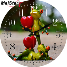 MEISTAR Frogs With Glasses Wooden Design Clocks Silent Living Study Garden Bath Room Home Decor Watches Large Art Wall