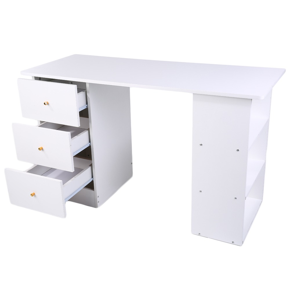 Modern Design Beech 3 Drawer Computer Desk Laptop Stand Desk Table Bedroom  Living Room Computer Desk