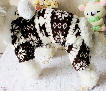 Christmas Gift Fashion Pet Clothes Dog puppy Brown Warm four-leg Coral fleece Coat  with Snowflake S M L XL XXL FREE SHIPPING