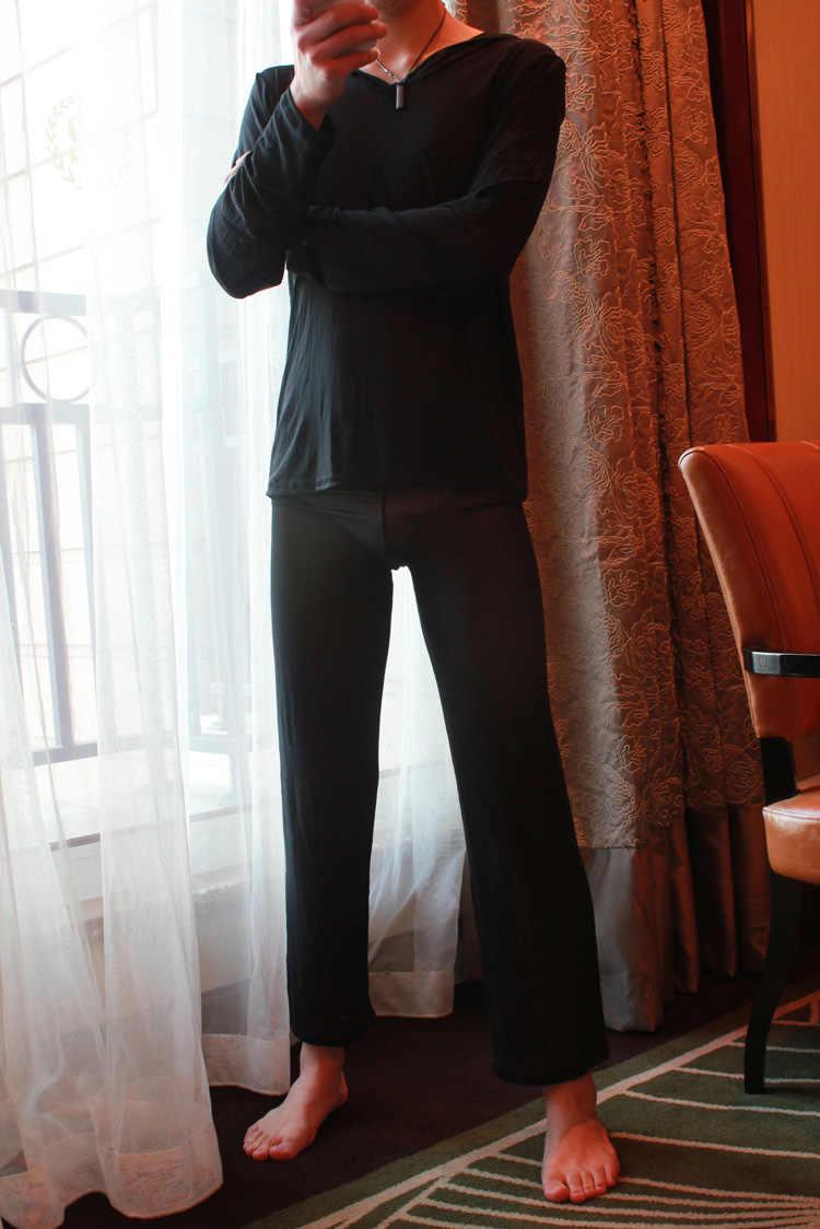 Sexy men 1 pijamas conjunto usar pijamas sleepwear ver através de malha solta sheer lounge calças eróticas lingerie fx1041