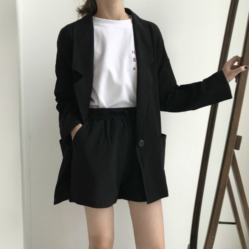 Cotton Linen Two Piece Thin Blazer Suit Shorts Suits Long Sleeve Casual Shorts Blazers 2 Piece