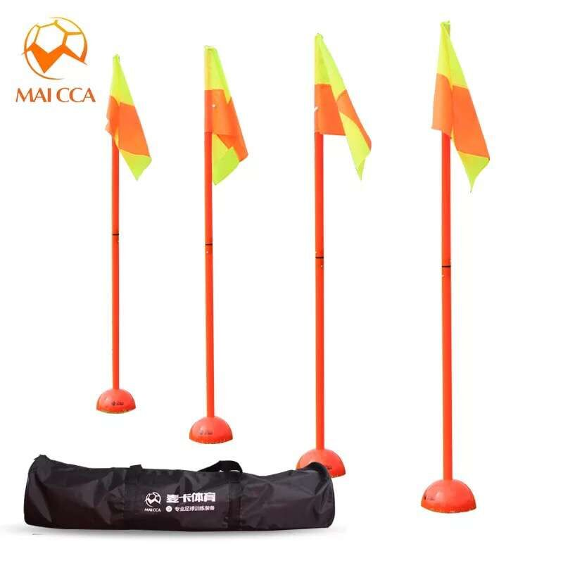 MAICCA Soccer flags for referee Portable folding with carry bag marker Corner stick Football referee flags wholesale 4pcs pack maicca quality soccer corner flag football referee flags wholesale 4pcs pack