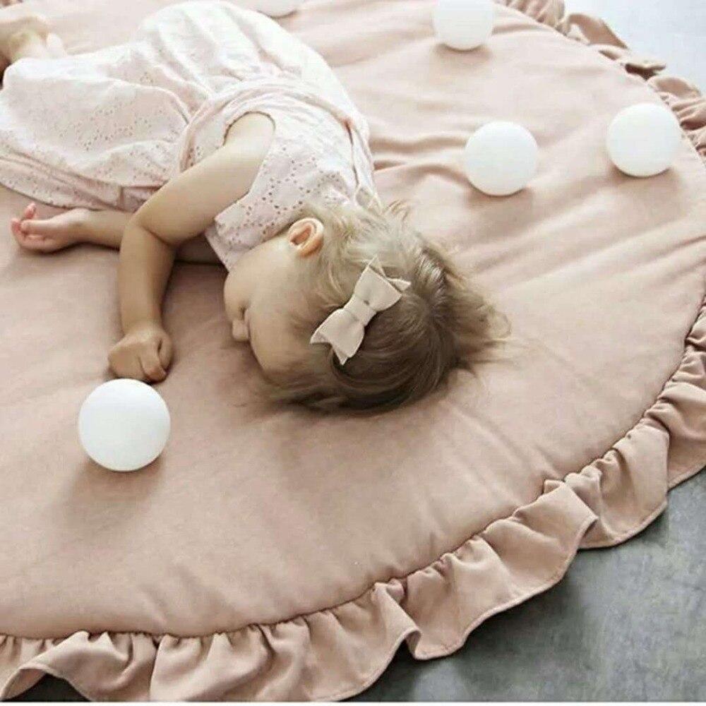 100 cm rond couleur unie blanc/rose coton enfants jouer tapis avec franges enfants chambre tapis tapis tapis de jeu tapis