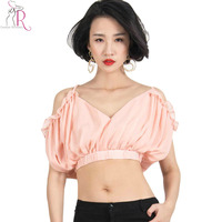 Pink Chiffon Spaghetti Strap Ruched Ruffled Crop Top Vest Cold Shoulder Cut Out V Back Short