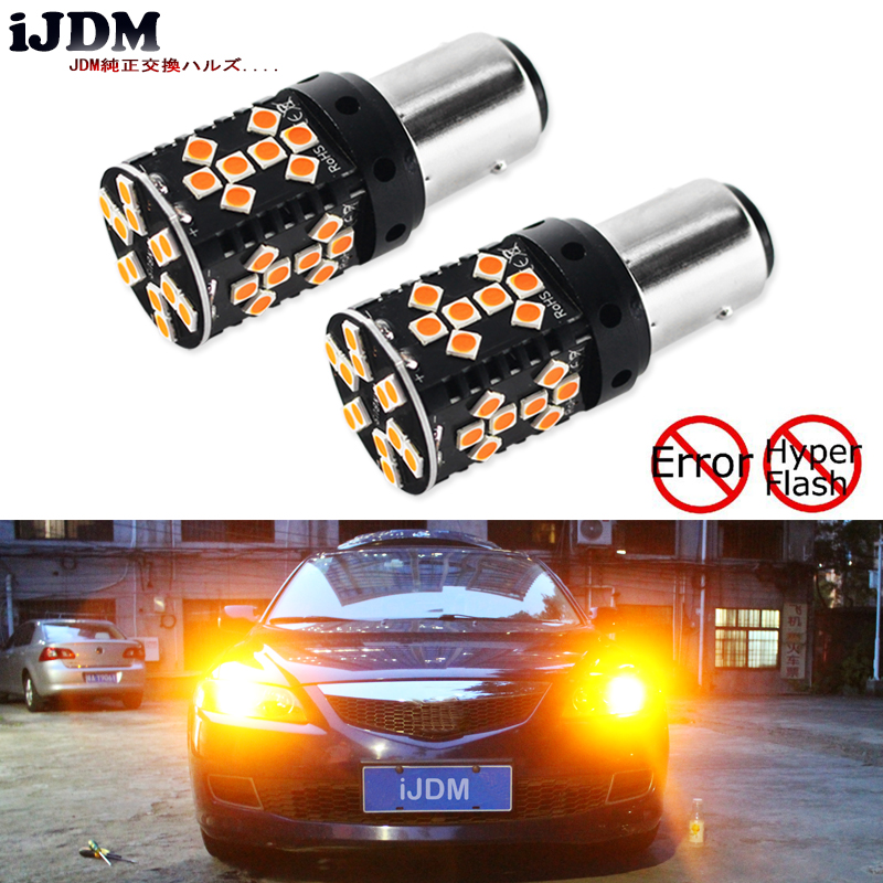 iJDM Canbus 1157 LED No Hyper Flash 21W Amber yellow P21/5W BAY15d LED Bulbs For Turn Signal Lights, Daytime Running Lights ijdm amber yellow error free 2835 led 1156 p21w led bulbs for car front or rear turn signal lights daytime running lights