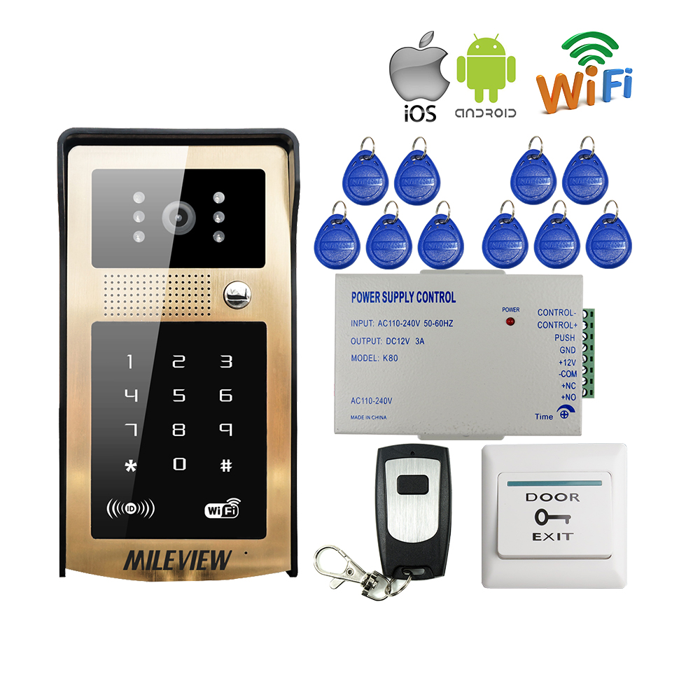 Touch New RFID / Code / Keypad Wireless Wifi Video Door Phone Golden Metal Doorbell Intercom for Android IOS Phone Free Shipping 2016 new wifi doorbell video door phone support 3g 4g ios android for ipad smart phone tablet control wireless door intercom
