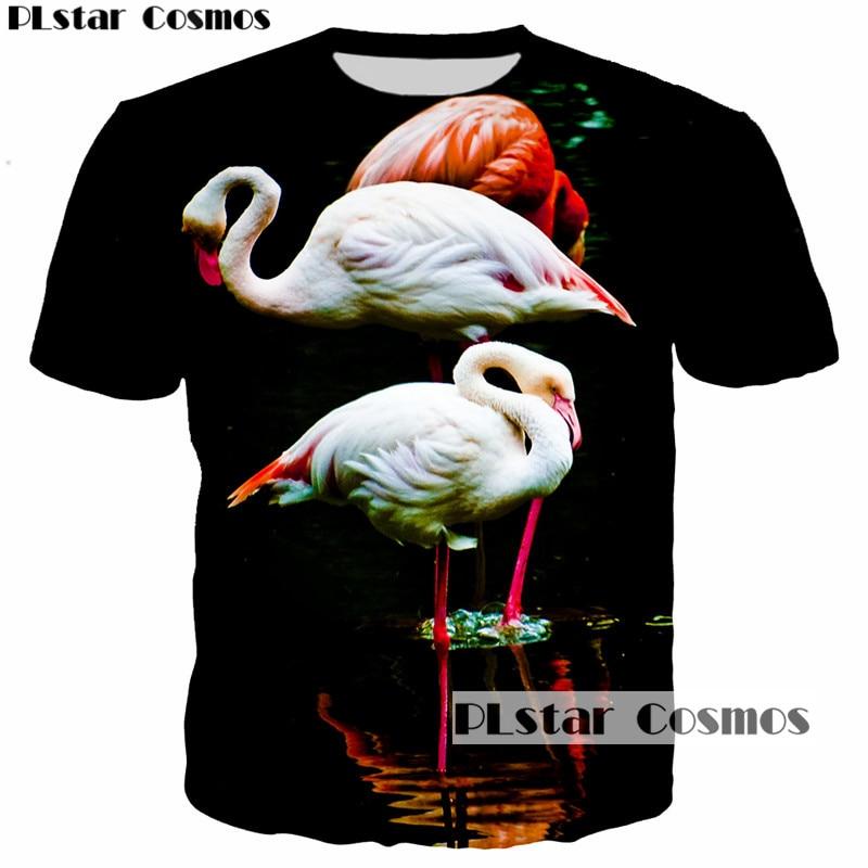 PLstar Cosmos Men 3D Print Animal Flamingo T-shirt Short sleeves Clothing tshirt Homme 3D Casual T Shirt Camisa Masculina