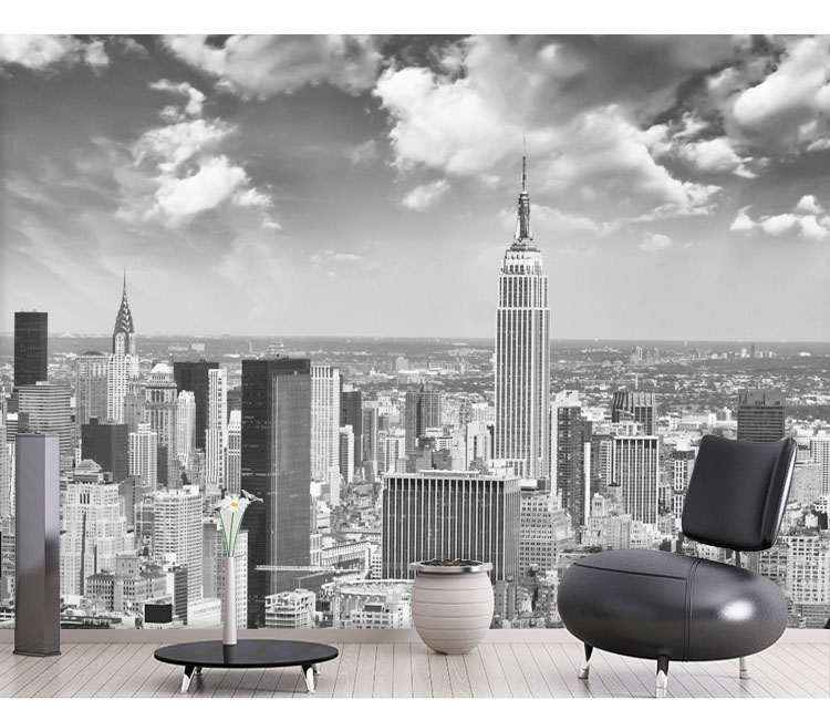 Us 7 1 52 Off 8d Papel Murals Wall Paper Black White New York City Scenery 3d Photo Mural Wallpaper For Living Room Background 3d Wall Mural In