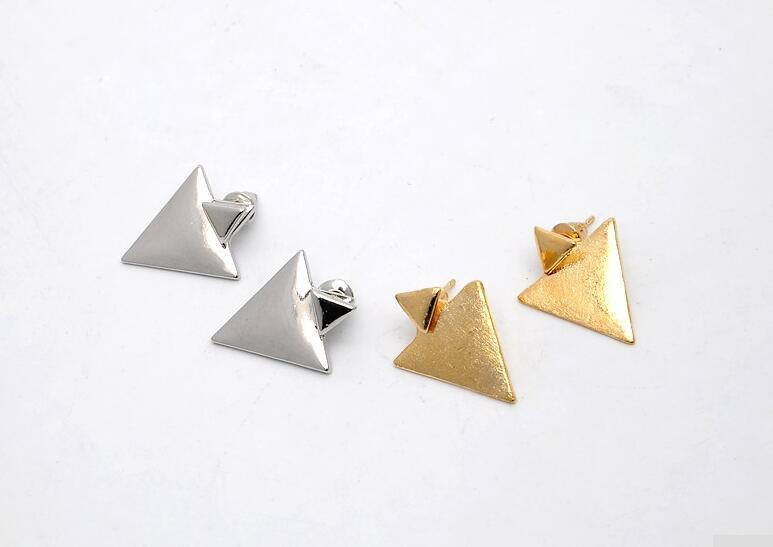 Tocona Vintage Geometric Triangle Stud Earrings for Women Punk Gold Silver Color Alloy Earrings Jewelry Accessories