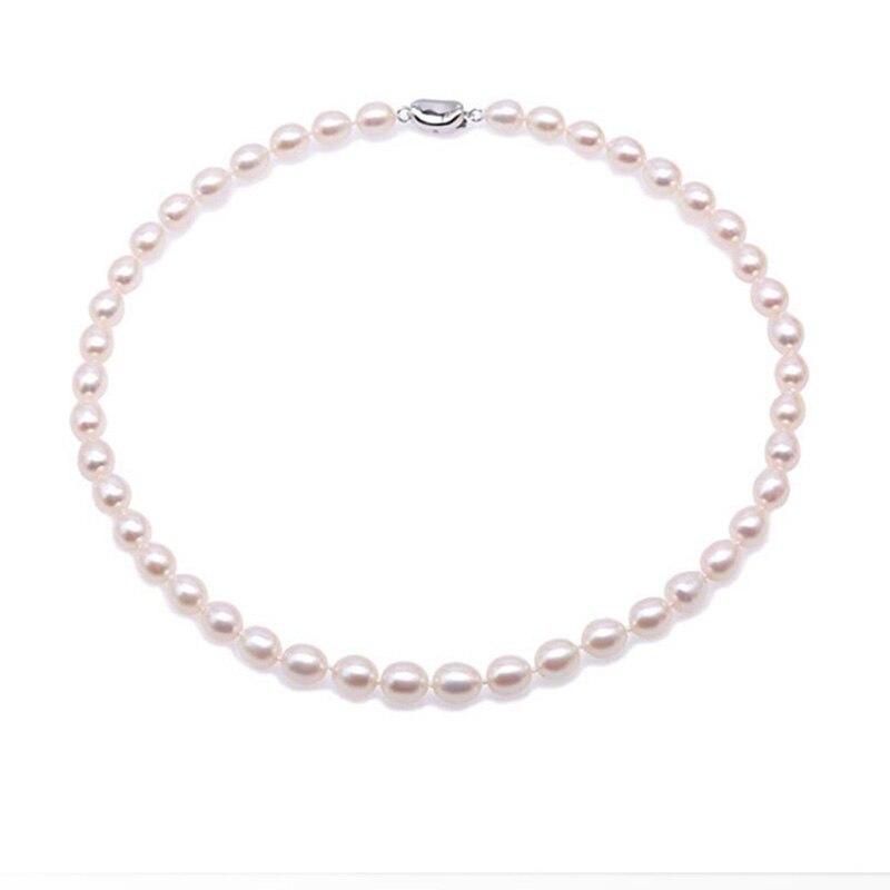 JYX классическое жемчужное ожерелье чокер 8 11 мм Белое рисовое культивированное чистое пресноводное Жемчужное ожерелье 18