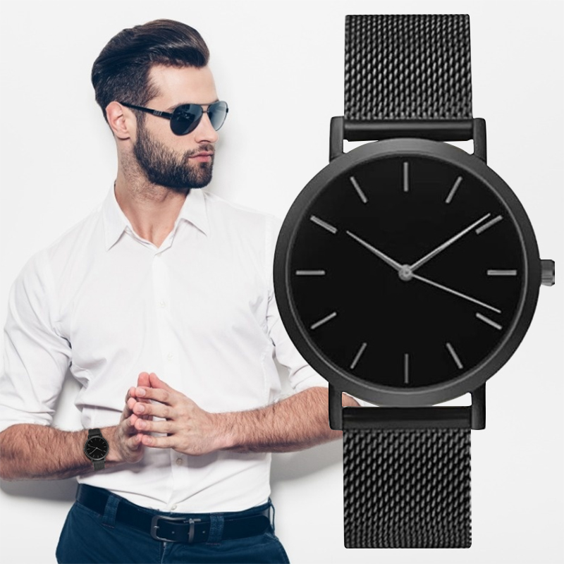 Men Wristwatch Quartz Full Steel Watch Fashion Hot Watches Black Gold Silver Male Relojes Masculino Drop Shipping Analog Watches