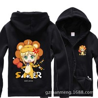 Anime Fate saber Lion Hoodies sportswear zipper Sweatshirt cotton add plush winter warm cosplay Costume 2015 NEW Fashion
