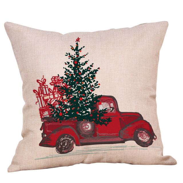Merry Christmas Throw Pillow Case Vehicle Decorative Pillows Cover For Sofa Seat Cushion 45x45cm Home