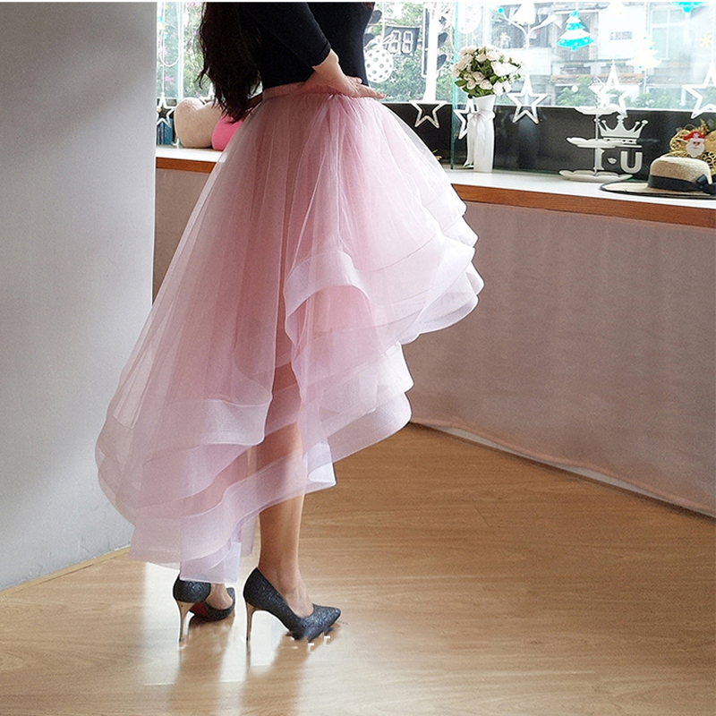 Joli Blush rose Organza volants haut bas jupes pour jolie dame à plusieurs niveaux élastique longue jupe femmes sur mesure femme bas