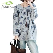 Johnature Фуфайка Женщин 2017 Весной Новый Случайный Печати Карманы О-Образным Вырезом Плюс Размер Женская Одежда Теплый Сладкий Мода Толстовки Топы(China (Mainland))
