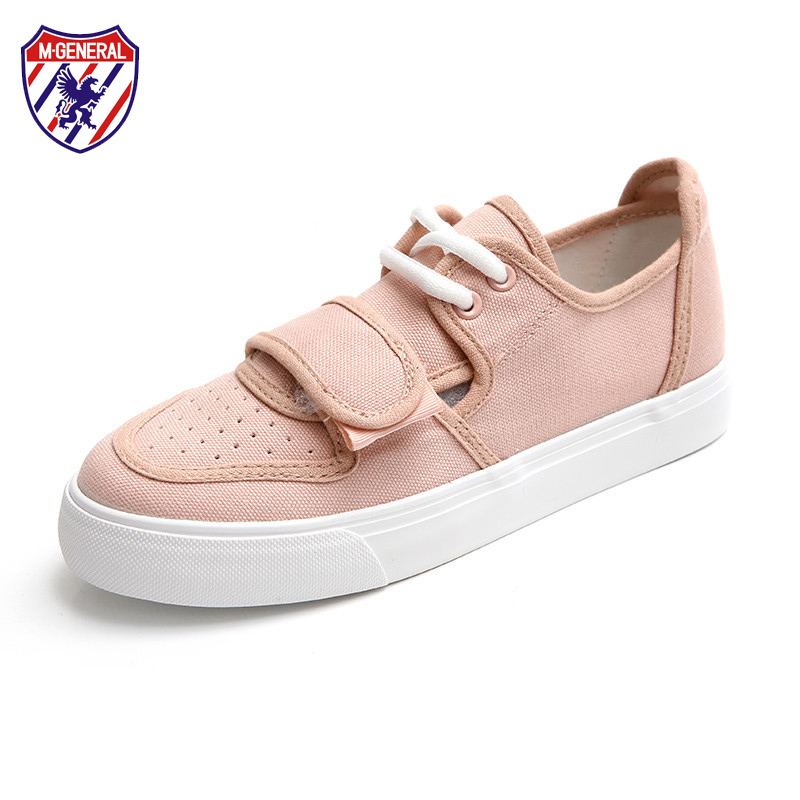 M. GENERAL Women Pink Shoes for Spring Summer White Casual Shoes Low Shallow Slip on Loafers Flat Heel Famous Brand Canvas 35-40 e lov women casual walking shoes graffiti aries horoscope canvas shoe low top flat oxford shoes for couples lovers