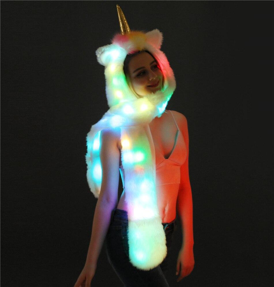 Luminous Unicorn Lantern Imitation Fur Hat Scarf Christmas Color LED Animal Hats Winter Hat And Scarf Set For Women