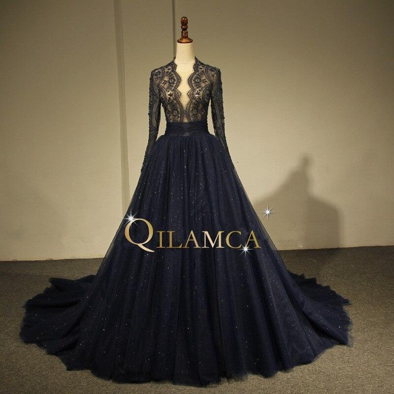 Arabic Evening Dresses Elegant Floor Length Evening Dresses 2018 Long Sleeves Prom Party Gowns Dark Navy prom dress