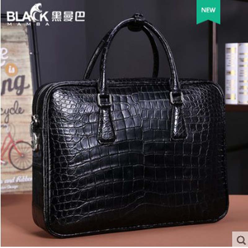 Heimanba Heimanba Lawyer Briefcase Full Leather New Crocodile Belly Men's Bag Men's Business Handbag Leather Large Capacity Code