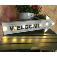 Vintage Welcome Hanging Wooden Led Sign Plate Decorative Door Plates with 6 Leds Welcome Sign in Home Decor Wood Door Sign Plate