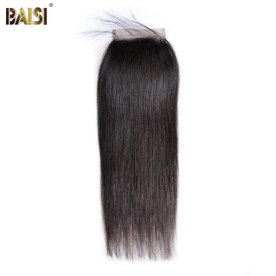 BAISI Peru rambut Lurus Penutupan Renda Swiss 4 * 4, Remy rambut 10-18 inch Gratis pengiriman