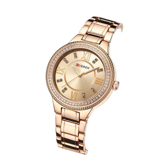 CURREN Brand Luxury Women's Casual Watches Waterproof Wristwatch Women Fashion Dress Rhinestone Stainless Steel Ladies Clock 2