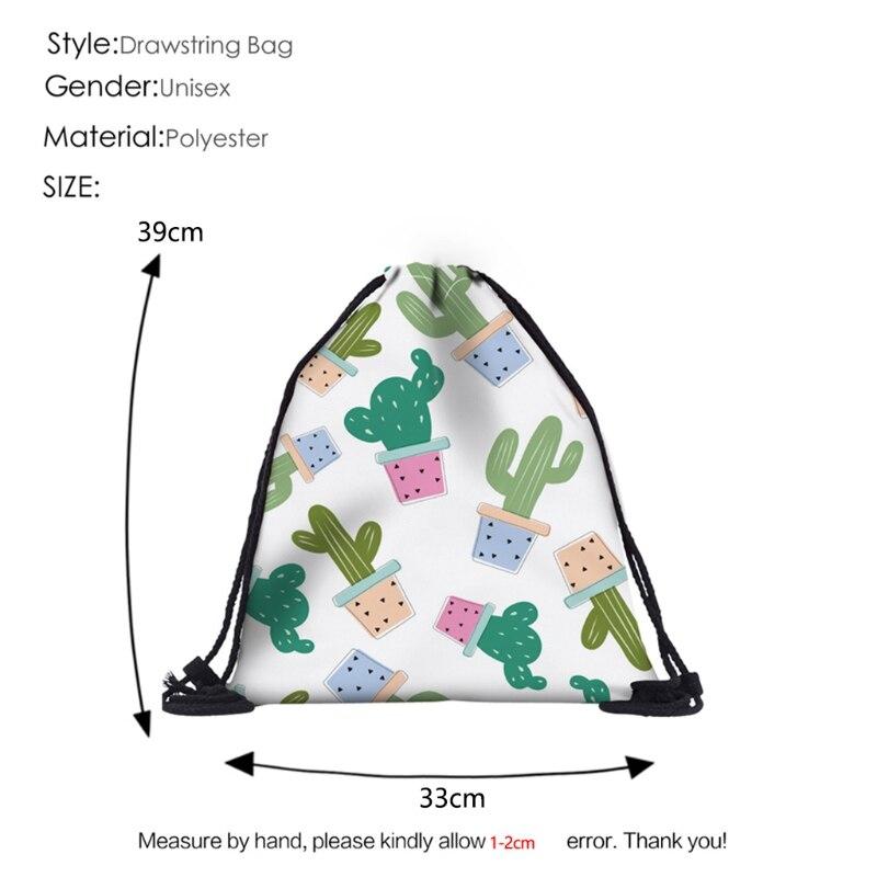 High Quality Polyester Swimming Drawstring Beach Bag Sport Gym Cactus Print Backpack Travel  Drawstring Bag