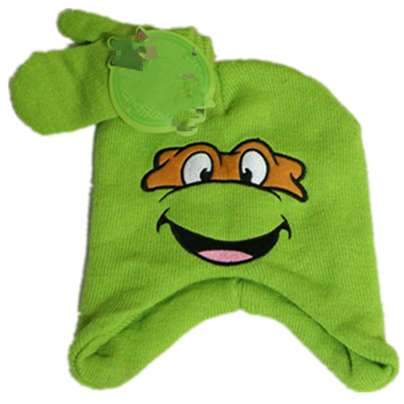 Cute Winter Green Turtles Knitted Skullies Beanies Kids Cartoon Tortoise Hooded Hat Mittens Earflap Cap Sets Christmas free gift шапка harrison theodore short beanies green
