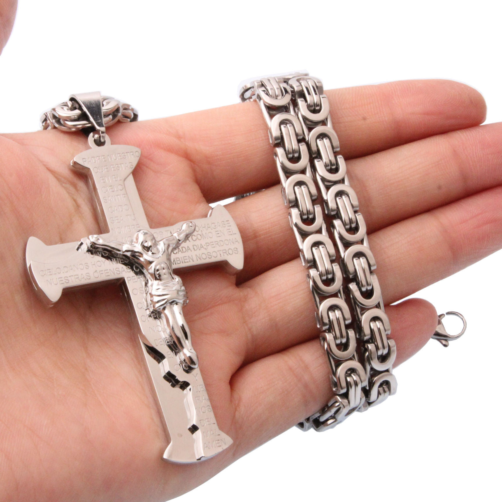 Hot Sale Christian Jesus Cross Pendant Necklaces 6mm Thick Link Byzantine Chain Stainless Steel Silver Men Jewelry Gift in Chain Necklaces from Jewelry Accessories