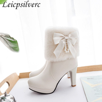 Autumn and winter Sweet Butterfly knot Pendant womens Short boots Plush Thick Heel Waterproof High heeled Martin boots