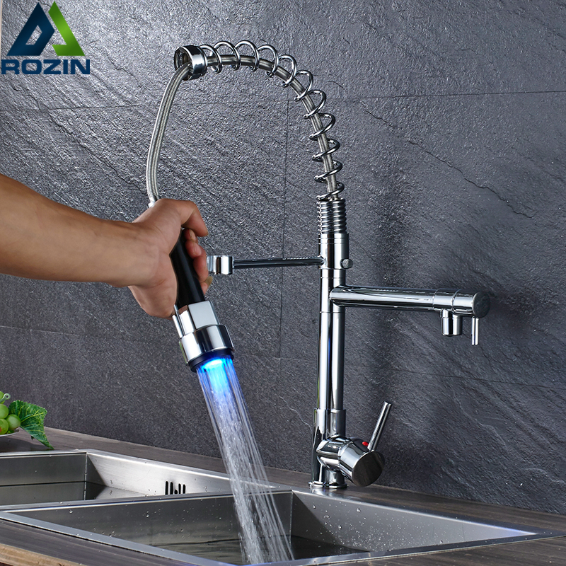 Chrome Pull Down Spray Kitchen Sink Faucet Dual Rotate Spout Kitchen Mixers LED Light Single Handle