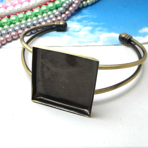 2pcs 25mm Min Order Wholesale ANTIQUE BRONZE Square Cabochon Setting Disc Adjustable Cuff Bangle and Bracelets Blank ...