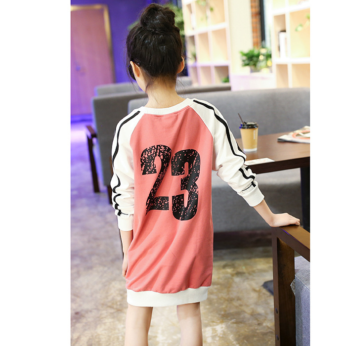 Children 39 s clothing girls sweater spring autumn new casual stitching contrast color letter shirt big children long striped top in Hoodies amp Sweatshirts from Mother amp Kids