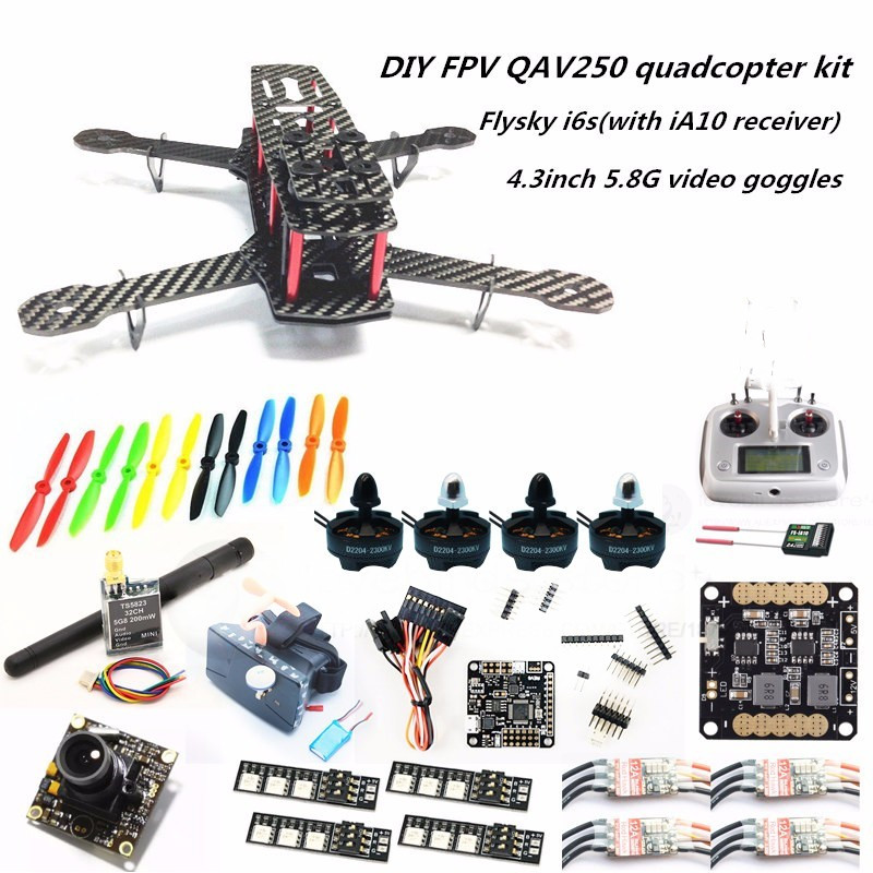 DIY FPV mini drone QAV250 quadcopter kit D2204 + Red Hawk BL12A ESC OPTO + NAZE32 10DOF + 700TVL camera + Video goggles + FS-I6S diy fpv mini drone qav180 zmr180 cross race quadcopter pure carbon frame kit naze32 10dof 1306 3100kv motor bl 6a esc opto