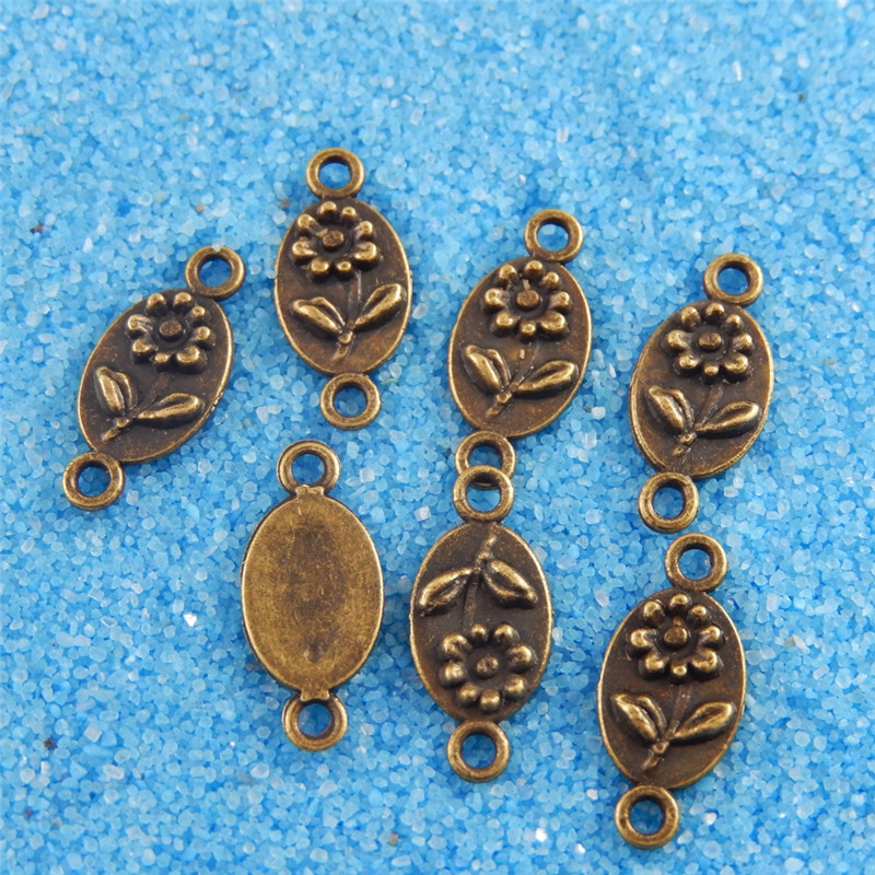 Graceangie Antique Bronze Oval Plate With Flower Relief Jewelry Making Accessory Handmade Crafts Antique Bronze Retro Connector image