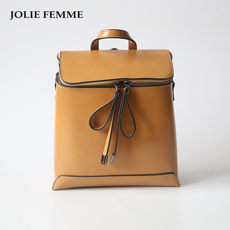 JOLIE FEMME Women Simple Style Backpack PU Leather Backpacks For Girls School Bags Fashion Vintage Solid Square Shoulder Bags