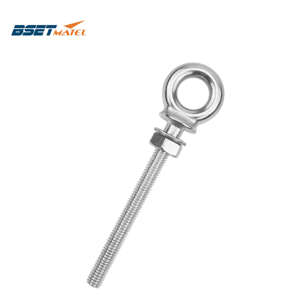 BSET MATEL M8*80mm Marine Grade 316 Stainless Steel Longer Lifting Eye Bolts Lift Eye Bolt Screws Ring Loop Hole For Cable Rope