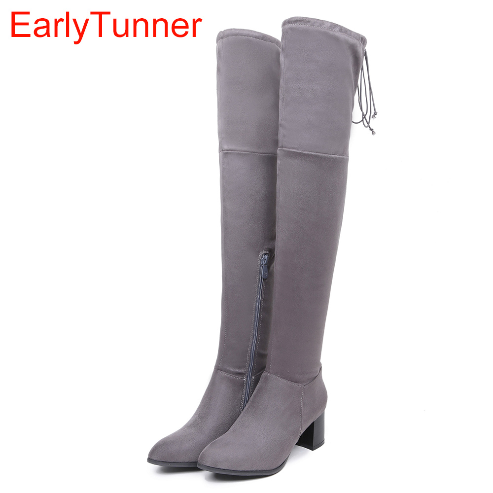 Brand New Sexy Women Nude Thigh High Boots Red Gray Lady Over the Knee Riding Shoes Chunky Heel ETF1 Plus Big size 32 46 10