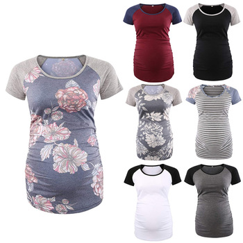 цена на Pregnant women round neck raglan sleeves ruffled pregnant women T-shirt tops pregnant women shirt