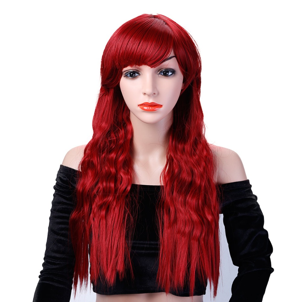 JINKAILI Long Kinky Curly Red Hair Wigs For African Americans Heat Resistant Synthetic Wigs For Women Hair ...