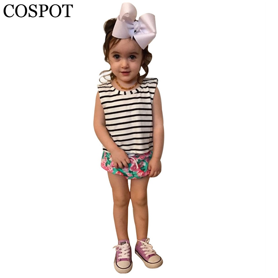 Baby Girls Clothing Sets T-shirt + Shorts Girl Summer Fashion 2 Stycka Girl's Cotton Striped Tops + Floral Shorts 0-3Yrs 40