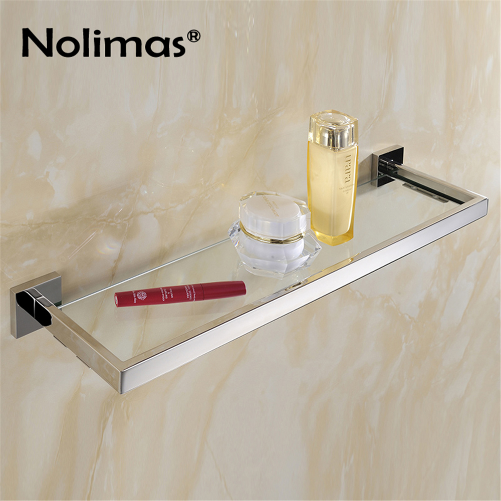 SUS 304 Stainless Steel Glass Bathroom Shelf Mirror Polished Solid Square 50 CM Length for Single Layer Towel Rack stainless steel single deck glass shelf