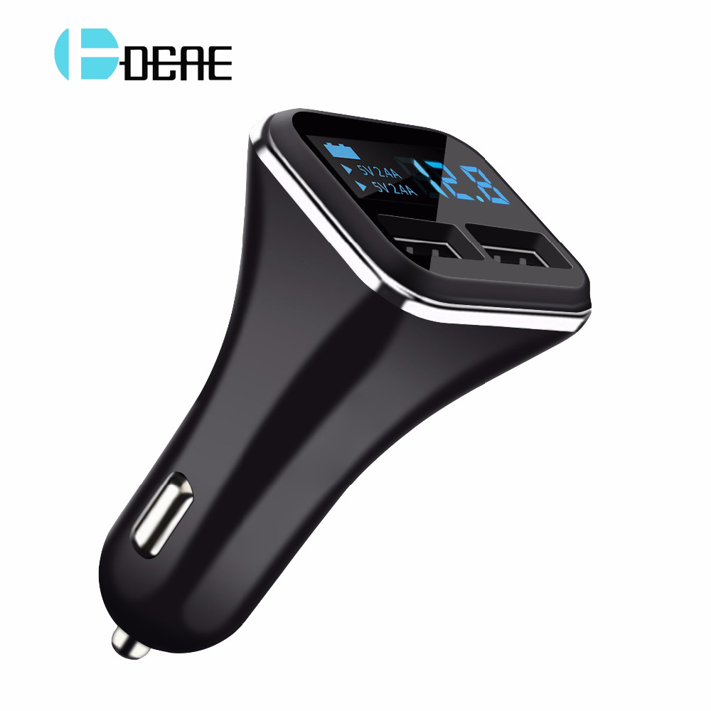 DCAE Dual USB Car Charger For Samsung Xiaomi Phone Chargers 5V 4.8A Smart Digital Car-charger For iPhone iPad Universal Charge