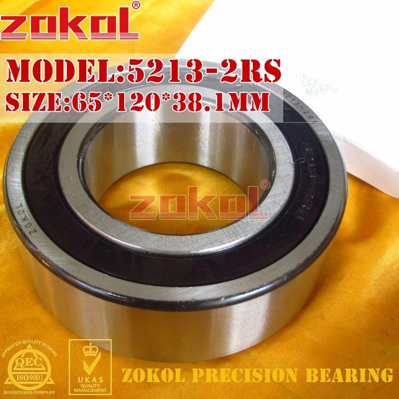 ZOKOL bearing 5213 2RS 3213 2RS (3056213) Axial Angular Contact Ball Bearing 65*120*38.1mm zokol bearing 5317 2rs 3317 2rz 3056317 axial angular contact ball bearing 85 180 73mm