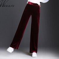 Wmwmnu 2017 Women Velvet Long Pants Autumn Winter Casual Warm Wide Leg Pants Elastic Waist Plus