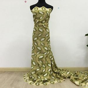 Image 5 - Yüksek kaliteli İsviçre vual dantel ordu yeşil zeytin 2019 son afrika dantel pamuk dantel kumaş düğün elbisesi 5 metre 062