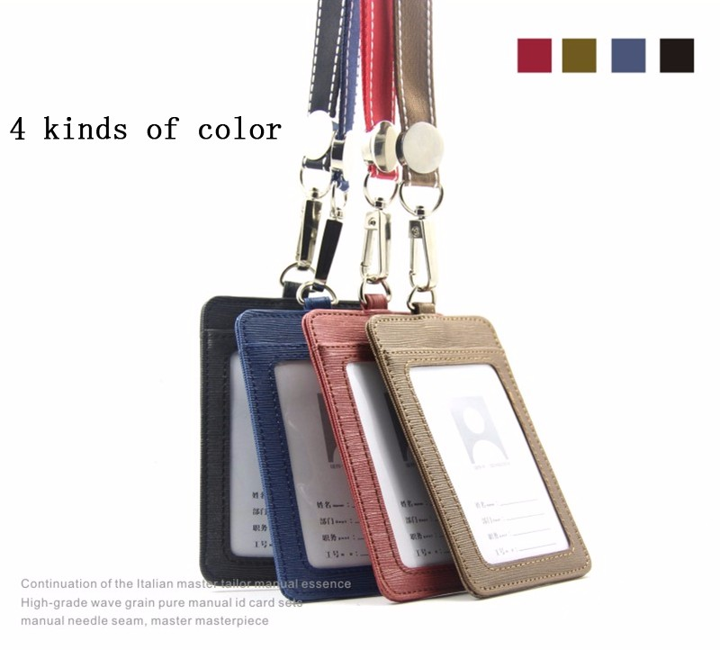 Badge Holder & Accessories Labels, Indexes & Stamps High-grade Pu Card Holder Staff Identification Card Neck Strap With Lanyard Badge Neck Strap Bus Id Holders