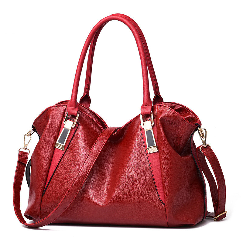 Casual Classic Red PU Women Handbag Office Lady Shoulder Bag Zipper Crossbody Messenger dark grey high quality pu women handbag cusual office lady shoulder bag twist turn lock crossbody messenger