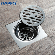GAPPO Chrome Brass Square Drains Shower Floor Drain Cover Siphon Bathroom Sink Stopper Sets Accessories Tile